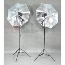 ZESTAW LAMP 2x150Ws +2x STATYW +2x PARASOL SREBRNY
