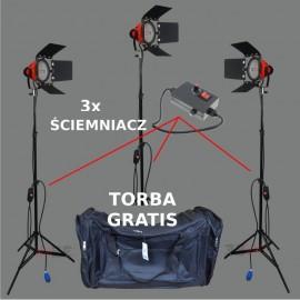ZESTAW FILMOWO STUDYJNY 3x800W + 3xDIMMER + TORBA