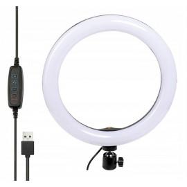 LAMPA PIERŚCIENIOWA RING LED 26cm USB głowica