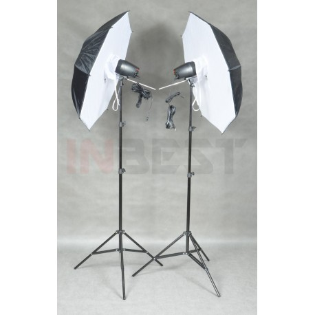 ZESTAW LAMP 2x150Ws +2x STATYW +2x PARASOL SOFTBOX