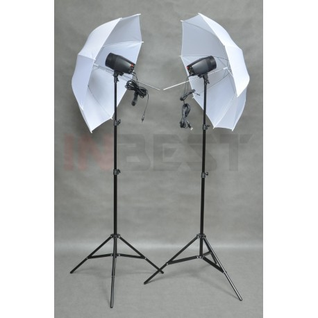 ZESTAW LAMP 2x150Ws +2x STATYW +2x PARASOL BIAŁY